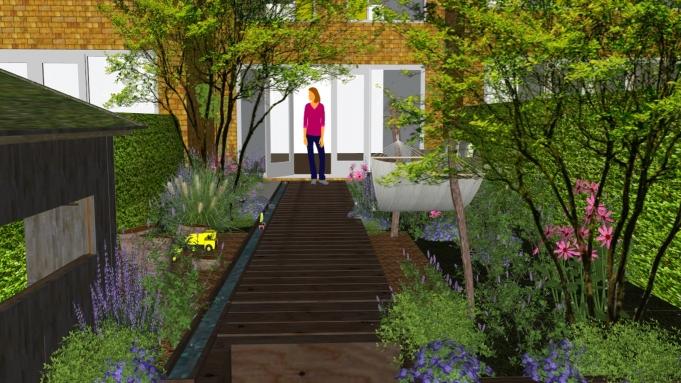 3D ontwerp tuin met waterloop