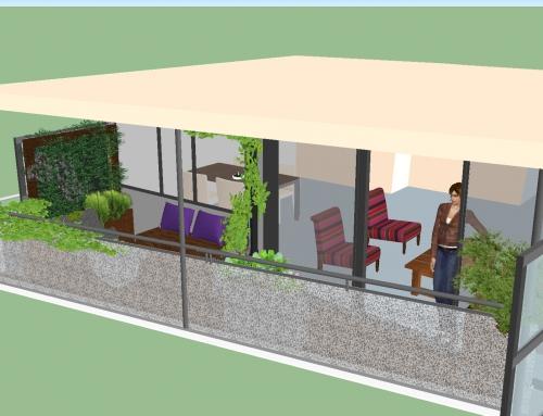 Groen balkon met verticale tuin