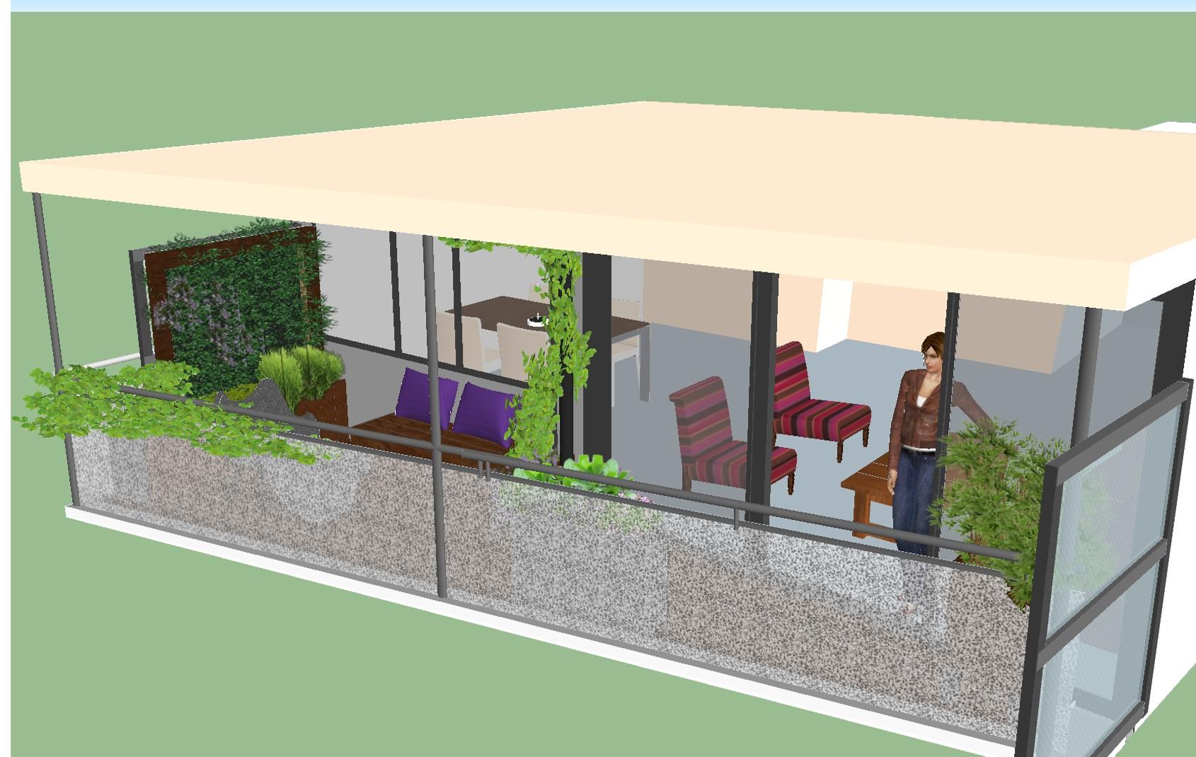 balkon met verticale tuin