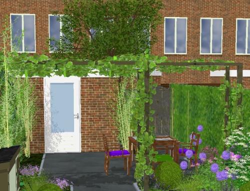Achtertuin tussenwoning; meer bloemen, meer privacy en fijn terras.