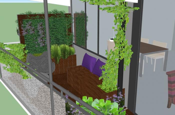groen balkon 3D ontwerp